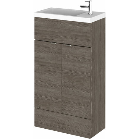 Hudson Reed Compact Fitted Vanity Unit with Basin 500mm Wide - Brown Grey Avola