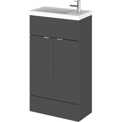 Hudson Reed Compact Fitted Vanity Unit with Basin 500mm Wide - Gloss Grey