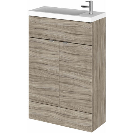 Hudson Reed Compact Fitted Vanity Unit with Basin 600mm Wide - Driftwood