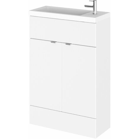 Hudson Reed Compact Fitted Vanity Unit with Basin 600mm Wide - Gloss White