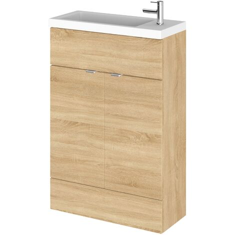 Hudson Reed Compact Fitted Vanity Unit with Basin 600mm Wide - Natural Oak