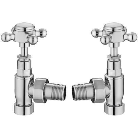Hudson Reed Crosstop Angled Radiator Valves Pair - Chrome