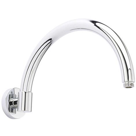 Hudson Reed Curved Wall Mounted Shower Arm, 343mm Length, Chrome