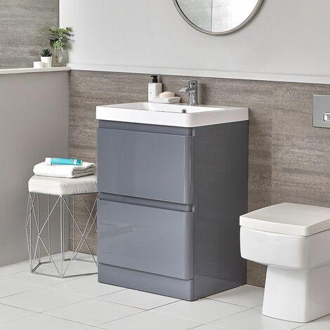 Hudson Reed Daxon - Grauer Moderner 600mm Waschtisch mit Unterschrank und Stand-WC (ohne Spülkasten) im Set