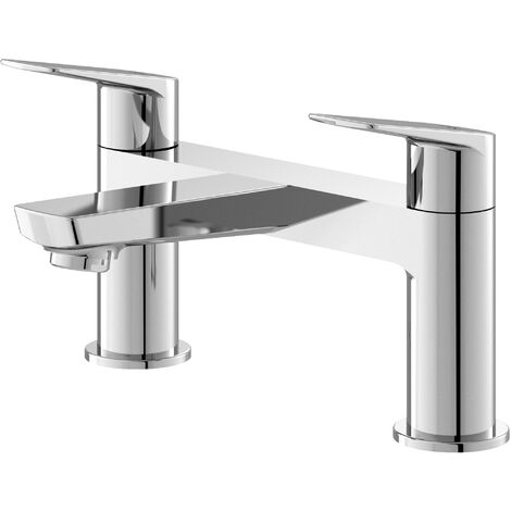 Hudson Reed DRI303 Drift ǀ Modern Bathroom Round Deck Mounted Double Handle Bath Filler, 134mm x 230mm, Chrome