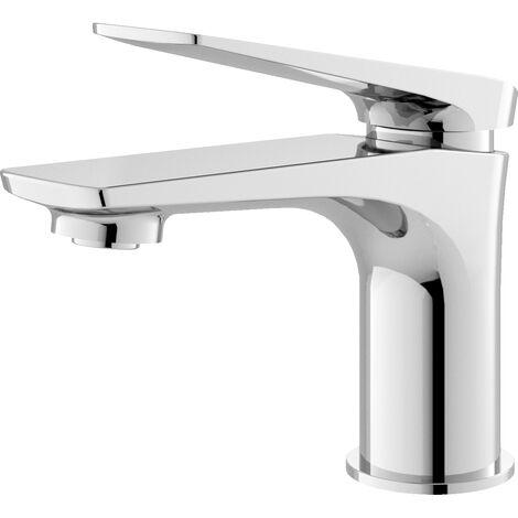 Hudson Reed DRI305 Drift ǀ Modern Bathroom Round Single Lever Mono Basin Mixer Tap with Push Button Waste, 139mm x 50mm, Chrome