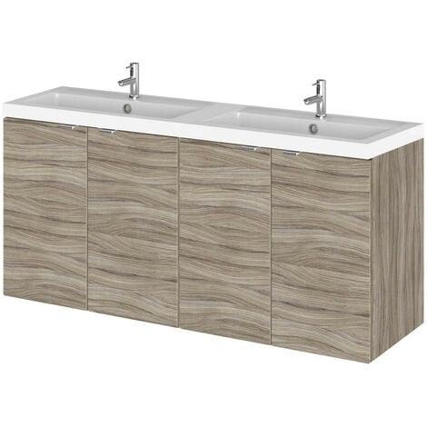 Hudson Reed Driftwood 1200mm Wall Hung Full Depth 4 Door Vanity Unit with Double Basin - CBI233