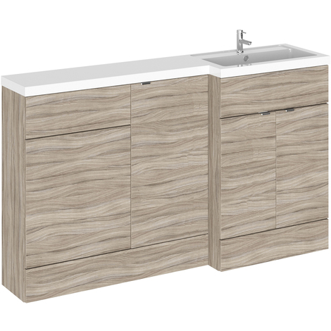 Hudson Reed Driftwood 1500mm Full Depth Combination Vanity, Toilet and Storage Unit with Right Hand Basin - CBI219