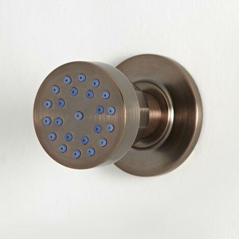 Hudson Reed Elizabeth - Buse hydromassante ronde rétro pour montage frontal - Bronze huilé