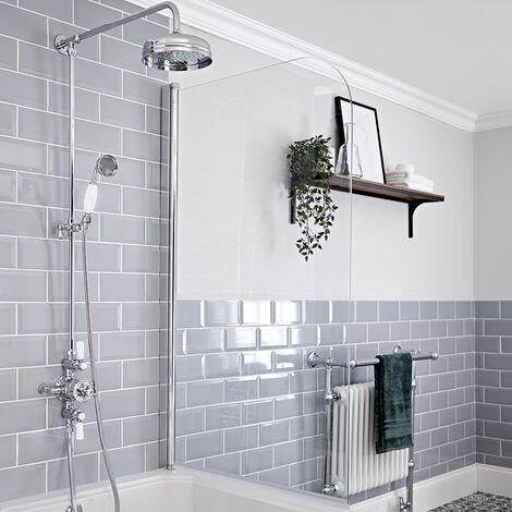 Hudson Reed Elizabeth - Colonne de douche rétro avec mitigeur thermostatique exposé à double sorties, Pommeau pluie rond et Kit douchette - Chromé et Blanc