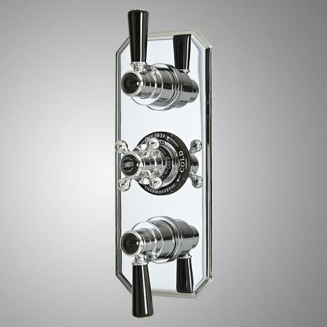 Hudson Reed Elizabeth - Kit de douche rétro - Mitigeur de douche thermostatique rétro encastré à deux fonctions - Chromé et noir