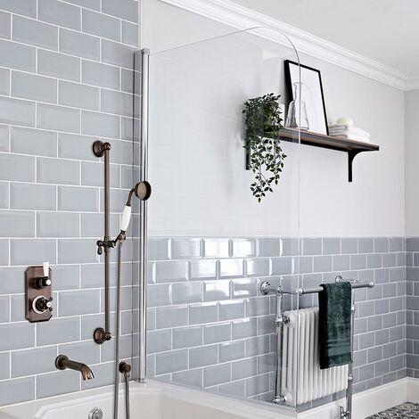Hudson Reed Elizabeth - Kit de douche rétro - Mitigeur thermostatique à double fonctions avec inverseur, Kit douchette sur rampe et Bec verseur baignoire mural - Bronze huilé