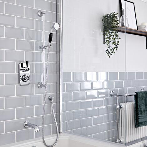 Hudson Reed Elizabeth - Kit de douche rétro - Mitigeur thermostatique à double fonctions avec inverseur, Kit douchette sur rampe et Bec verseur baignoire mural - Chromé et Noir