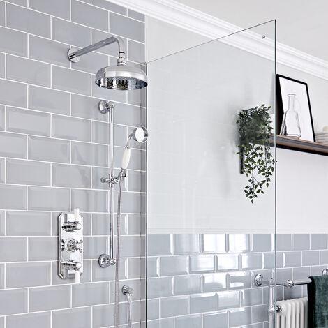 Hudson Reed Elizabeth - Kit de douche rétro - Mitigeur thermostatique à double fonctions, Pommeau pluie rond mural de 20 cm et Kit douchette sur rampe - Chromé et blanc