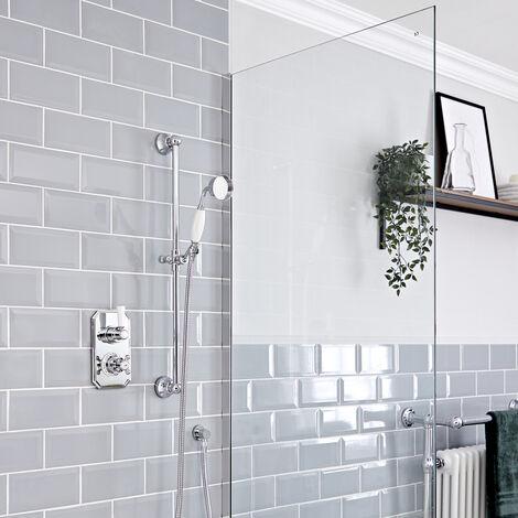 Hudson Reed Elizabeth - Kit de douche rétro - Mitigeur thermostatique à une fonction et kit douchette sur rampe avec douchette, flexible, rampe et raccord coudé - Chromé et Blanc