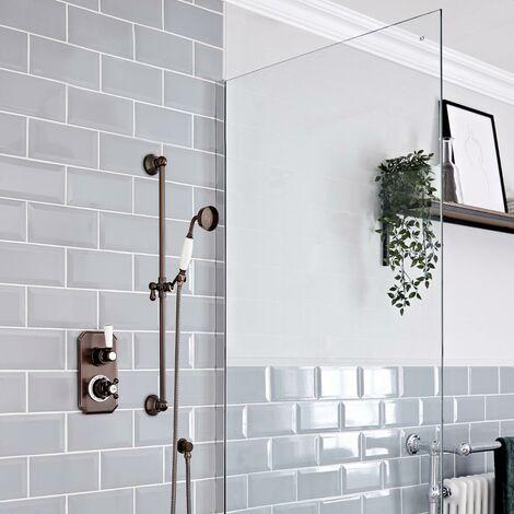 Hudson Reed Elizabeth - Kit de douche rétro - Mitigeur thermostatique à une fonction et kit douchette sur rampe avec douchette, flexible, rampe et raccord coudé - Bronze huilé