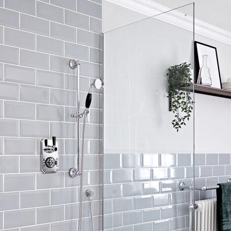 Hudson Reed Elizabeth - Kit de douche rétro - Mitigeur thermostatique à une fonction et kit douchette sur rampe avec douchette, flexible, rampe et raccord coudé - Chromé et Noir