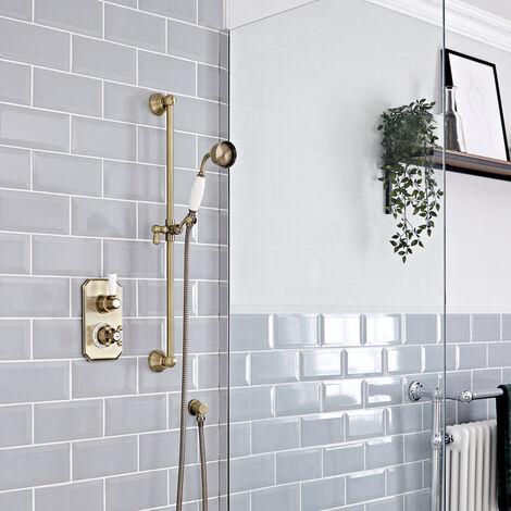 Hudson Reed Elizabeth - Kit de douche rétro - Mitigeur thermostatique à une fonction et kit douchette sur rampe avec douchette, flexible, rampe et raccord coudé - Or brossé