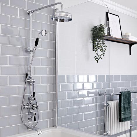 Hudson Reed Elizabeth - Retro Duschsäule mit 3-Wege-Aufputzthermostat, rundem Regenfalleffekt-Duschkopf, Brausegarnitur und Wand-Wanneneinlauf - Chrom und Schwarz