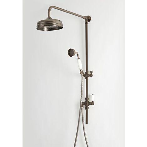 Hudson Reed Elizabeth - Retro Duschsäule mit Duschkopf mit Regenfall-Effekt und Brausegarnitur - Geölte Bronze