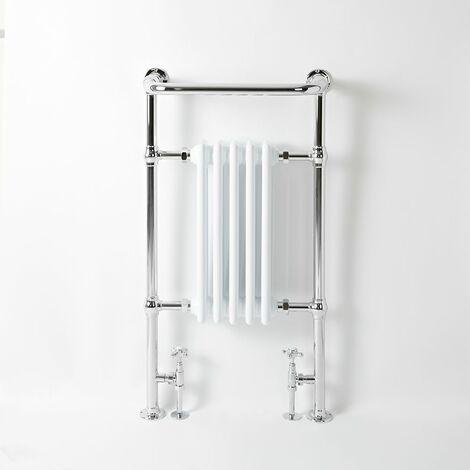 Hudson Reed Elizabeth - Sèche-Serviettes Rétro avec Rail Supérieur - Chromé et Blanc - 96,5cm x 54cm
