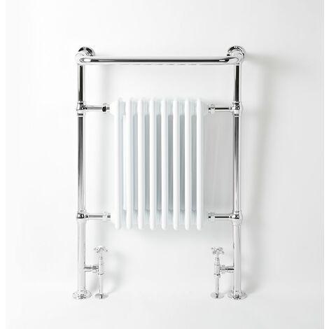 Hudson Reed Elizabeth - Sèche-Serviettes Rétro avec Rail Supérieur - Chromé et Blanc - 96,5cm x 67,3cm