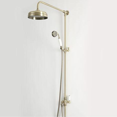 Hudson Reed Elizabeth - Traditionelle Duschsäule mit Duschkopf mit Regenfall-Effekt und Brausegarnitur- Antikgold