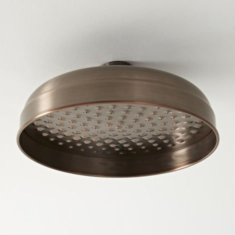 Hudson Reed Elizabeth - Traditioneller 205mm runder Duschkopf mit Regenfall-Effekt - Geölte Bronze