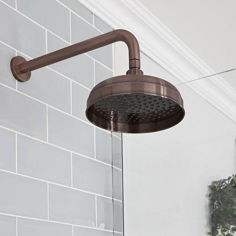 Hudson Reed Elizabeth - Traditioneller 205mm runder Duschkopf mit Regenfall-Effekt mit Wandarm - Geölte Bronze