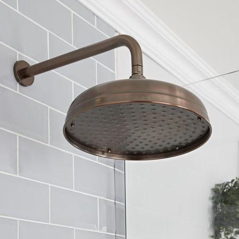 Hudson Reed Elizabeth - Traditioneller 305mm runder Duschkopf mit Regenfall-Effekt mit Wandarm - Geölte Bronze