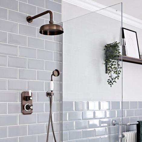 Hudson Reed Elizabeth - Traditionelles 2-Wege Thermostat mit Umleiter mit Hand Brausegarnitur and 200mm Round Rainfall Duschkopf - Geölte Bronze