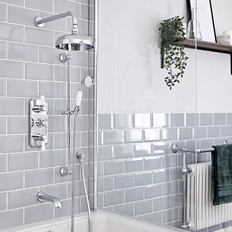 Hudson Reed Elizabeth - Traditionelles 3-Wege-Thermostat mit Umleiter mit 205mm rundem Regenfall-Duschkopf, Brausegarnitur und wandmontiertem Wanneneinlauf - Chrom und Weiß