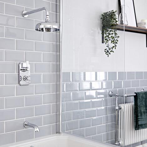 Hudson Reed Elizabeth - Traditionelles Thermostat mit Umleiter, 200mm Duschkopf und wandmontiertem Wanneneinlauf - Chrom und Weiß