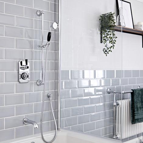 Hudson Reed Elizabeth - Traditionelles Thermostat mit Umleiter, Brausegarnitur und wandmontiertem Wanneneinlauf - Chrom und Schwarz