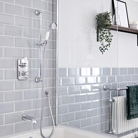 Hudson Reed Elizabeth - Traditionelles Thermostat mit Umleiter, Brausegarnitur und wandmontiertem Wanneneinlauf - Chrom und Weiß