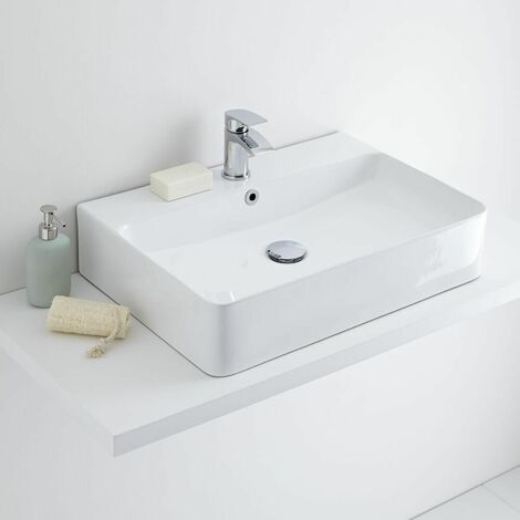 Hudson Reed Exton - Aufsatzwaschbecken Rechteckig 600mm x 420mm mit Einhebelarmatur im Set