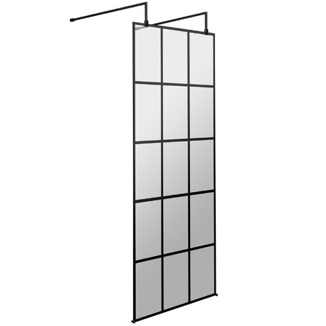 Hudson Reed Frame Effect Wet Room Screen with Support Arms and Feet 760mm Wide 8mm Glass