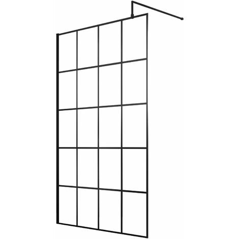 Hudson Reed Frame Effect Wet Room Screen with Support Bar 1100mm Wide - 8mm Glass