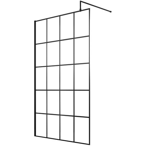 Hudson Reed 1200mm Framed Wetroom Screen with Support Bar - WRSF12