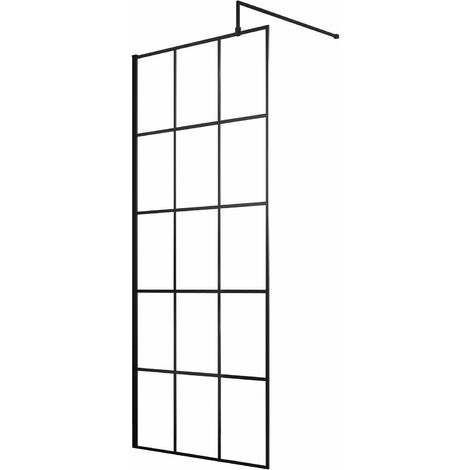 Hudson Reed Frame Effect Wet Room Screen with Support Bar 700mm Wide - 8mm Glass