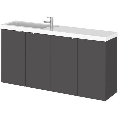 Hudson Reed Fusion Compact Combination Unit with 250mm Base Unit - 1000mm Wide - Gloss Grey