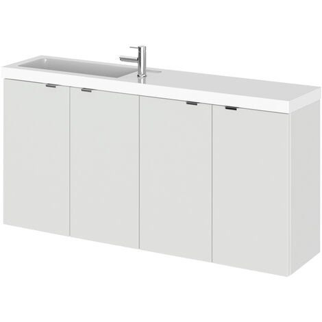 Hudson Reed Fusion Compact Combination Unit with 250mm Base Unit - 1000mm Wide - Gloss Grey Mist