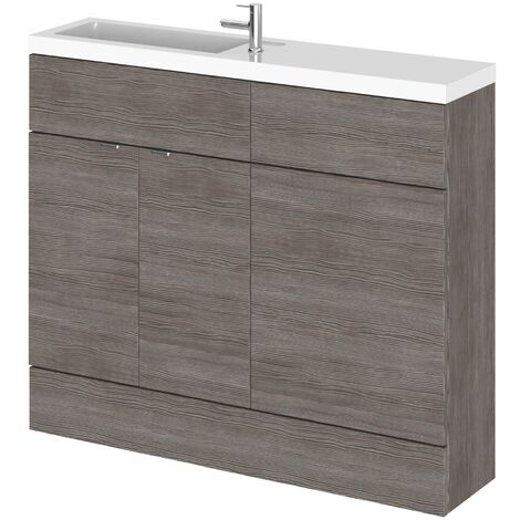 Hudson Reed Fusion Compact Combination Unit with Slimline Basin - 1000mm Wide - Brown Grey Avola