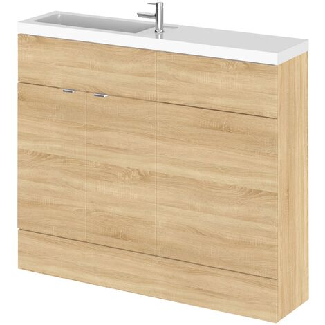 Hudson Reed Fusion Compact Combination Unit with Slimline Basin - 1000mm Wide - Natural Oak