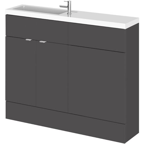 Hudson Reed Fusion Compact Combination Unit with Slimline Basin - 1100mm Wide - Gloss Grey