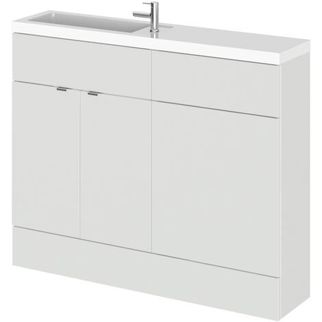 Hudson Reed Fusion Compact Combination Unit with Slimline Basin - 1100mm Wide - Gloss Grey Mist