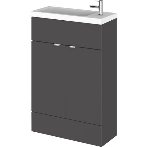 Hudson Reed Fusion Compact Vanity Unit with Basin 600mm Wide - Gloss Grey