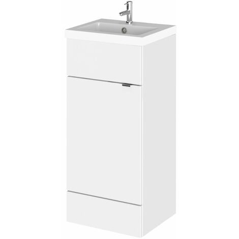 Hudson Reed Fusion Floor Standing Vanity Unit with Basin 400mm Wide - Gloss White