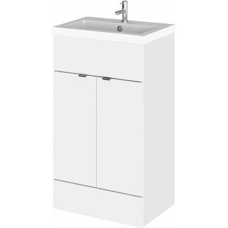 Hudson Reed Fusion Floor Standing Vanity Unit with Basin 500mm Wide - Gloss White