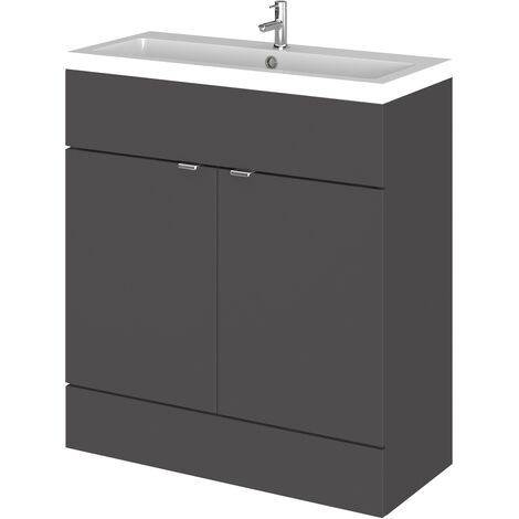 Hudson Reed Fusion Floor Standing Vanity Unit with Basin 800mm Wide - Gloss Grey